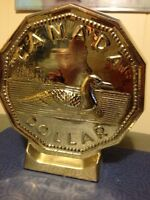 Solid Brass Loonie Bank