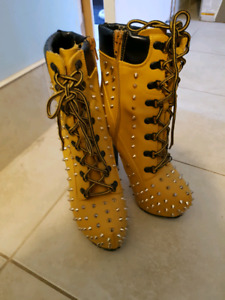 Yellow spiked heels