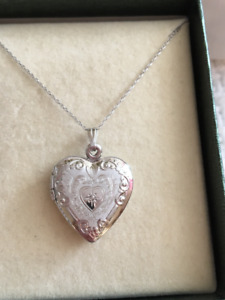 BRAND NEW Diamond Accent Heart Locket in White Gold