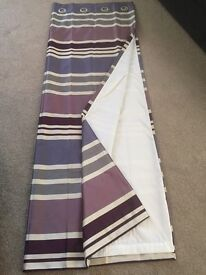 Next Lined Eyelet Striped Purple, Grey & Cream Curtains
