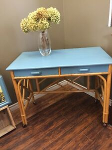 RATTAN DESK WITH MATCHING CHAIR