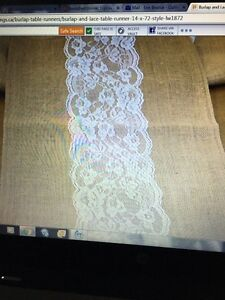 Burlap with lace table runner