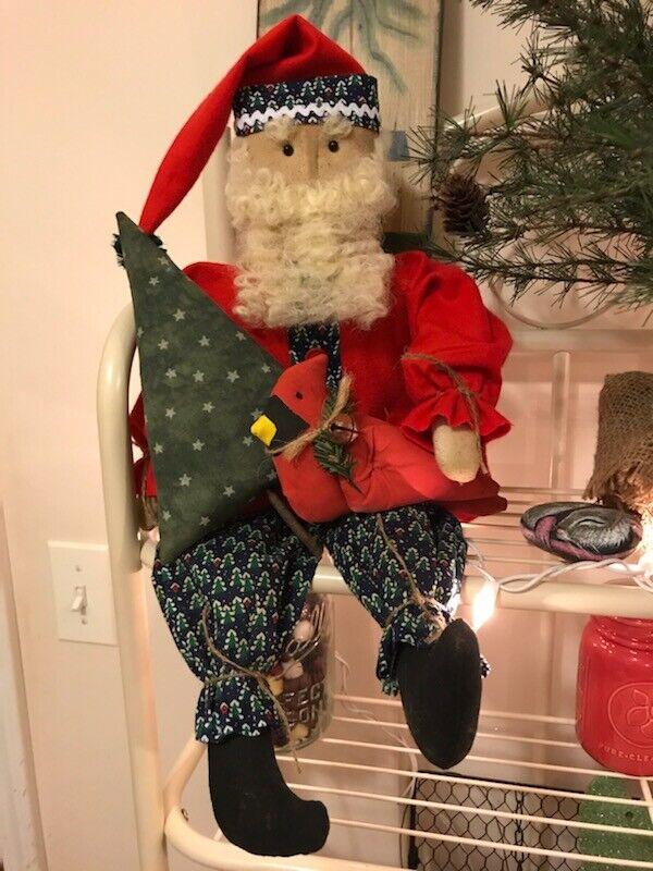 Primitive Christmas Woodland Santa Doll Red Flannel Blue Tree Cardinal Wool  - $24.99