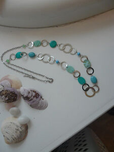 Long Teal and Silver Necklace