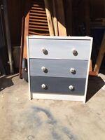 3 Drawer Ombré Rustic Vintage dresser with new knobs