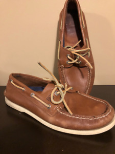 Sperry Top-Sider Men's Brown Leather Boat Shoes - Size 10