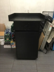 Garbage container with tray holder for restaurant