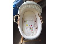 Moses basket with Lollypop lane covers