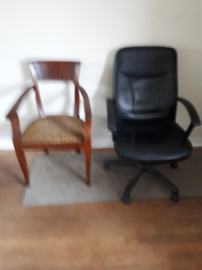 Solid Maple Antique Chair with Wicker Seat and Office Chair