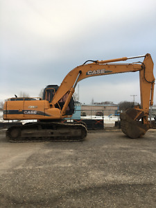 CX 160 Case Excavator, truck and trailer