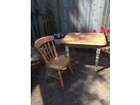 Shabby chic style painted solid pine table with a chair