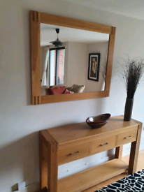 30. Solid oak sideboard with mirror