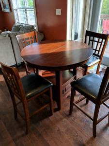 Pub Style Dining Table with 4 Chairs and Leaf