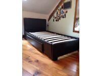 Single faux leather bed with storage drawer SOLD