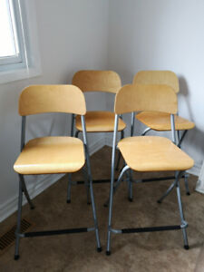 Four Folding Bar Stools
