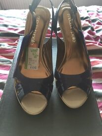 Brand new blue leather sling back heels size: 5