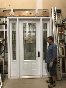 Over Sized Insulated Steel Door /w Sidelights 36x96!