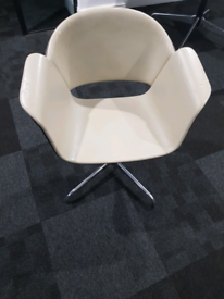 White leather office bucket seat