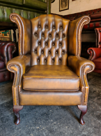 Antique Gold Chesterfield Queen Anne Wingback Chair