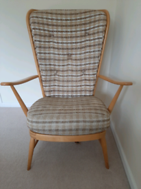 Vintage Classic 1950's Ercol High Back Chair- ORIGINAL CONDITION! Some TLC Required
