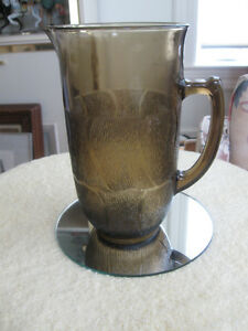 "LARGE VINTAGE SMOKED-GLASS ""ICED TEA"" PITCHER JUG"
