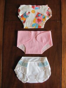 Doll clothing ~ set of 3 diapers ~ for larger size doll