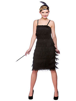 Ladies Black Flapper Costumes 20s 30s Charleston Jazzy Jazz Fancy Dress - Black Jazz Flapper Kostüm