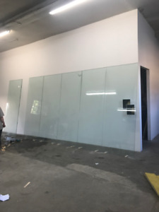 Six 8 x 3 feet sheets of tempered glass - $160