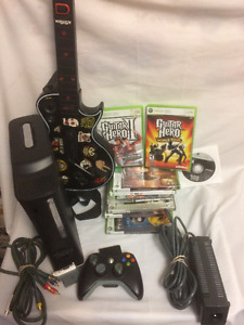XBOX 360 CONSOLE BUNDLE WITH GUITAR HERO plus 15 + Games
