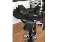 Western Leather Pony Saddle 12 Inch Seat Skirt Length 18 Inches