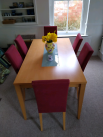 Beech table & 6 chairs