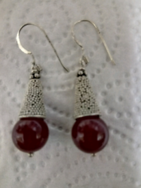 PAIR OF NEW LADIES SILVER, AND RED AMBER, DROP EARRINGS,