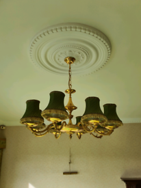 Pair of vintage chandeliers with lampshades