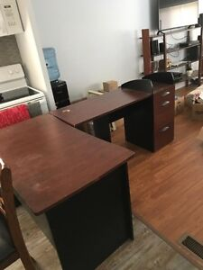 Large Desk with Filing Cabinet