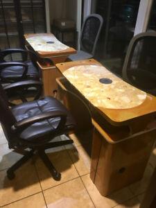 5 Tables de Manucure avec dessus Marbré