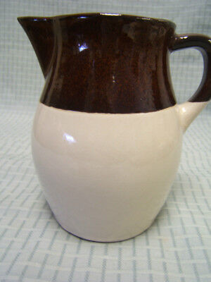 "Robinson Ransbottom Pottery Pitcher 6-1/4"" tall Tan and Brown Mint Condition"