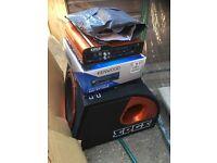 Bluetooth headunit sub amp wiring kit package car stereo radio