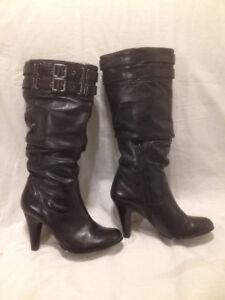 Aldo Black Genuine Leather Tall Leather Boots 71/2M