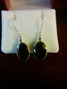 pair of yellow gold hand made bezel set drop style Garnet Earrin London Ontario image 1