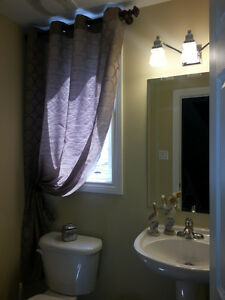 Curtain and curtain rod brown color