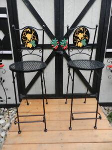 4 Gorgeous Unique Patio+Kitchen Wrought Iron Barstools