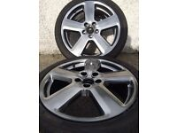 4 X GENUINE AUDI A3 RS6 ALLOY WHEELS AND TYRES - EXCELLENT CONDITION (ALLOYS) - SHADOW CHROME
