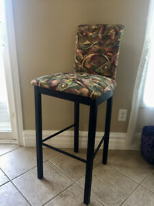 Bar Stool Chairs (set of 2)- upholstered fabric/metal