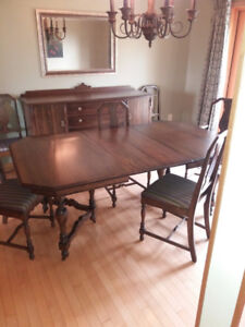 Antique Dining Room Set with Buffet and China Cabinet