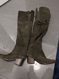 Green suede thigh high boots