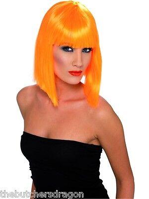 Tangerine Orange Halloween Glamour Girl Wig Tangerine Glam 70s 80s Fancy Dress ()