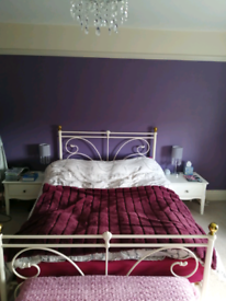 Cream double bed frame only