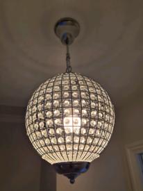 SmallCrystal Orb Globe Chandelier - Hallway Living Room Pendant