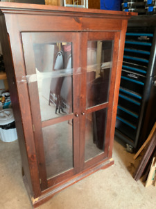 Solid Pine Cabinet With Glass Doors
