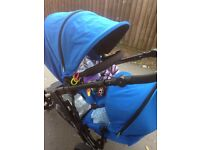 DOUBLE PUSHCHAIR WITHCARRYCOT